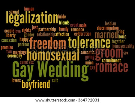 Gay Wedding, word cloud concept on black background. - stock photo