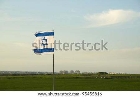 Gaza strip with Israeli flag - stock photo