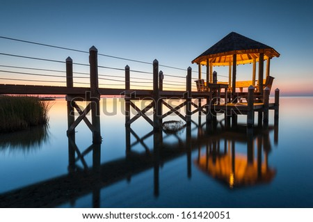 Gazebo at Dusk North Carolina Outer Banks Pamlico Sound Reflection - stock photo