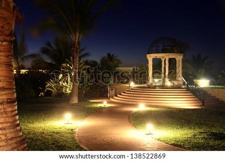 Gazebo at Night with Glowing Lights - stock photo