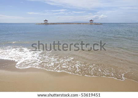 Gazebo at the beach of Sanur, Bali, Indonesia - stock photo
