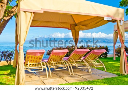 gazebo beds in tropical beach tranquil vacations