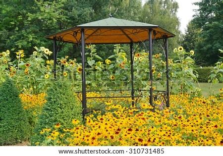 gazebo in the botanic garden - stock photo