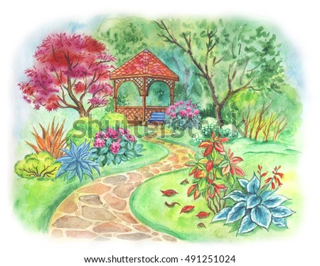 Gazebo In The Garden Flowering Painting With Watercolors