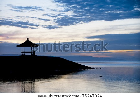 Gazebo on Sanur beach - stock photo