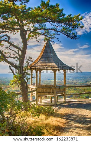 Gazebo overlooking the Hudson Valley in upstate New York - stock photo