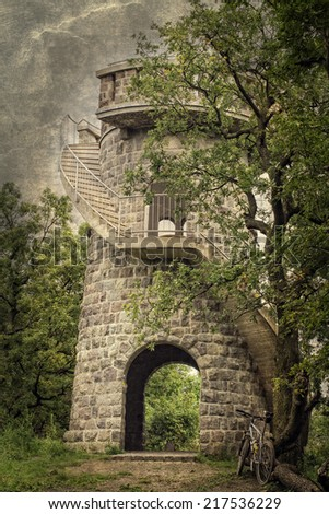 Gazebo tower in a forest on grungy background - stock photo