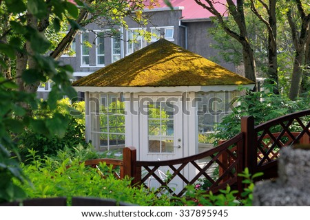 Gazebo with green roof covered with moss. Reykjavik. Iceland.