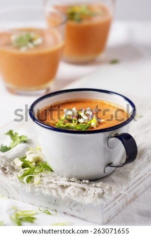Gazpacho in a bowl on white background - stock photo