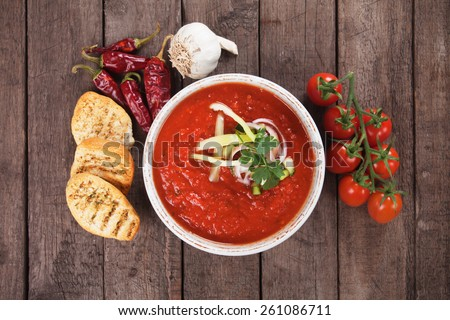 Gazpacho, spanish raw tomato and vegetable soup - stock photo