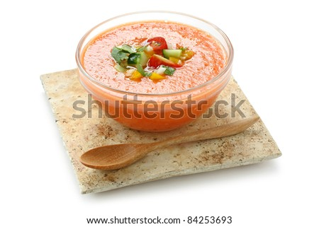 gazpacho , spanish tomato based cold vegetable soup - stock photo