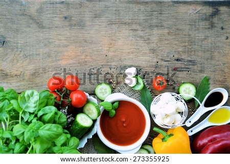 gazpacho, vegetarian food, background - stock photo