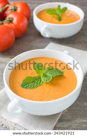 Gazpacho with tomato,garlic, cucumber and pepper