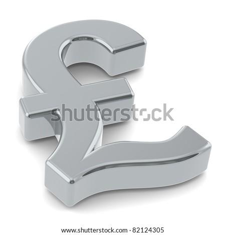 GBP. 3D British Pound symbol. Silver - stock photo