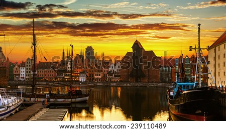 Gdansk at sunset - The historic city in Poland. - stock photo
