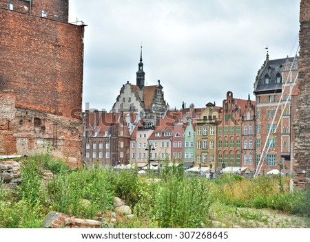 Gdansk old town by the river. Poland - stock photo