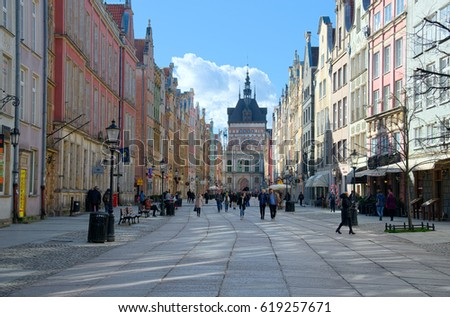 GDANSK, POLAND - APRIL 6, 2017: People walking on streets in historical center of Gdansk