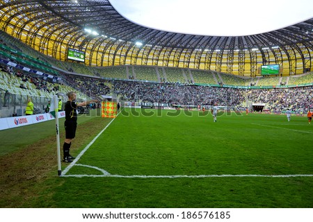 GDANSK, POLAND - APRIL 05, 2014: Referee Piotr Sadczuk during match Polish Premier League between Lechia Gdansk - KGHM Zaglebie Lubin (2:1) - stock photo