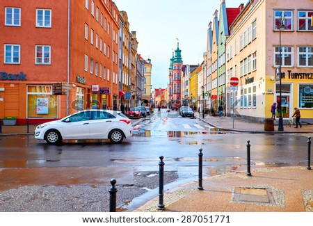 GDANSK, POLAND - APRIL 1, 2015: Streets of historical center, Gdansk is located in northern Poland and is very popular tourists destination - stock photo