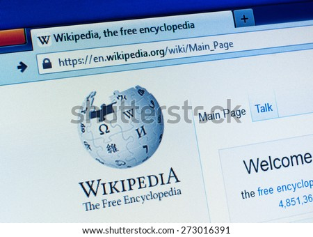 GDANSK, POLAND - APRIL 25, 2015. Wikipedia homepage on the computer screen. Wikipedia is a free-access, free content Internet encyclopedia, supported and hosted by the non-profit Wikimedia Foundation - stock photo