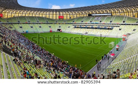 GDANSK, POLAND - AUGUST 6: Open Day at the newly built PGE Arena. 80,000 spectators visited the stadium on August 6, 2011 in Gdansk, Poland. The stadium will be used for Euro 2012.