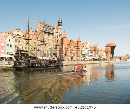 GDANSK, POLAND, EUROPE - 3 JUNE 2016: view of Gdansk and River Motlawa and tourist boats from the popular Green Bridge