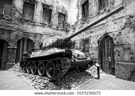 Gdansk, Poland - January 23 2018: Tank in Museum of the Second World War in Gdansk, Poland