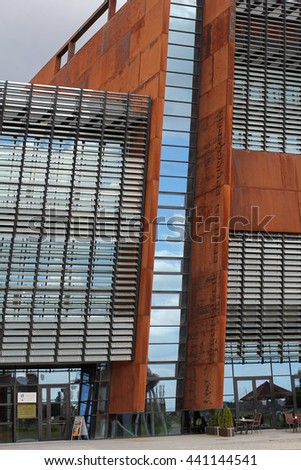GDANSK, POLAND, JUNE 16, 2016: ESC European Solidarity Centre- museum commemorating the Solidarity revolution and the fall of communism in Europe, located at the Gdansk shipyard.  - stock photo