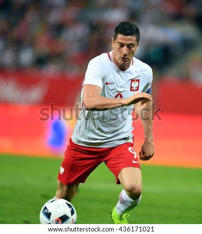 GDANSK, POLAND - JUNE 01, 2015: EURO 2016 European International Friendly Game Poland - Netherland o/p Robert Lewandowski  - stock photo