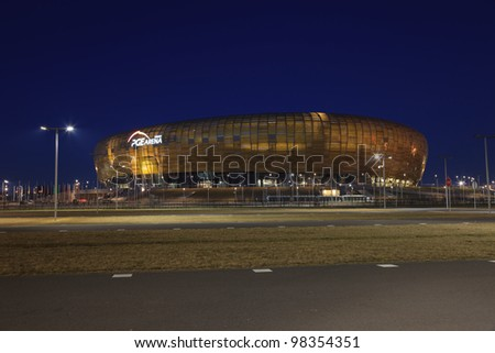 GDANSK, POLAND - MARCH 23: PGE Arena newly built football stadium for Euro 2012 Championship. Stadium has a capacity of 44 000 people. March 23, 2012 in Gdansk, Poland. - stock photo