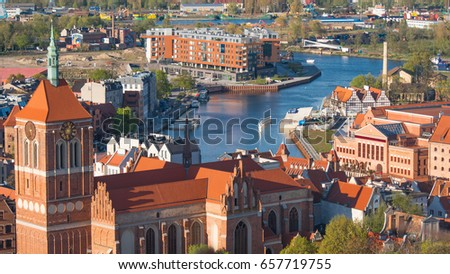 GDANSK, POLAND - May 07 2017: Aerial panoramic view of Gdansk.