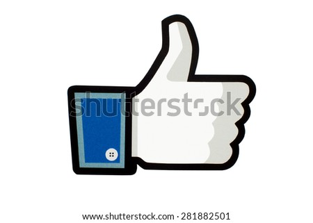 GDANSK, POLAND - MAY 26, 2015. Facebook like logo printed on paper and placed on white background. Facebook is an online social networking and microblogging service. - stock photo