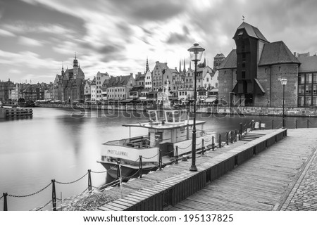 GDANSK, POLAND - 13 MAY: The medieval port crane over Motlawa river on 13 May 2014. This port crane built between 1442 and 1444 is the symbol of Gdansk and the oldest surviving port crane in Europe.
