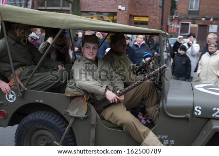 GDANSK, POLAND - NOVEMBER 11: Independence day parade. The parade is dedicated to the memory's independence in 11 November 1918. November 11, 2013 in Gdansk, Poland.