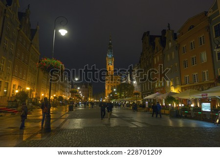 GDANSK, POLAND - OCTOBER 22, 2014: Old town of Gdansk with city hall at night, Poland