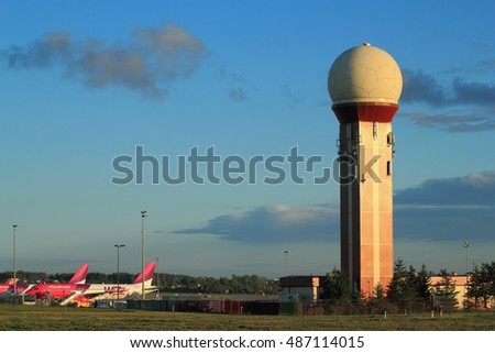 Gdansk, Poland, September 21, 2016: Control tower. Air traffic control tower, Gdansk airport, Poland