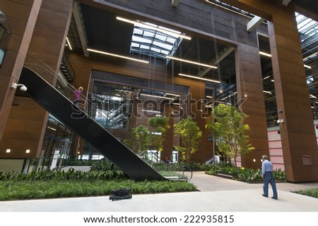GDANSK, POLAND - SEPTEMBER 26: Interior of Center of Solidarnosc as on September 26, 2014 in Gdansk, Poland. The memorial museum opened on 31. 8. 2014 in the Gdansk docyard, financed by EU. - stock photo