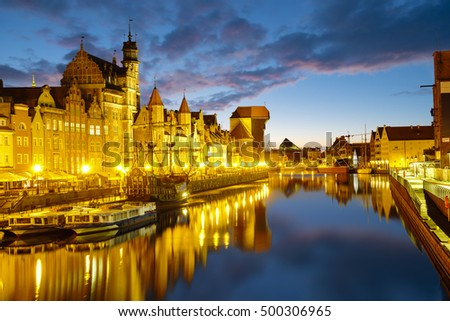 Gdansk, Poland,September 2016:The riverside with  promenade of Gdansk, Poland.Panorama at dusk