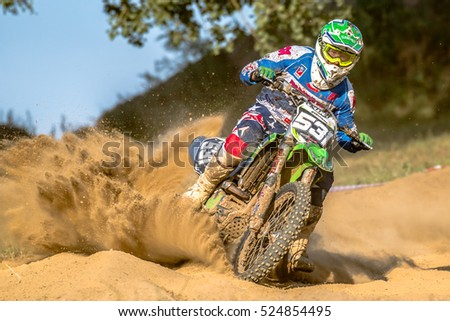 GDANSK, POLAND - SEPTEMBER 10 : undefined rider on Polish Motocross Championship Poland, Gdansk 10 Septemeber 2016
