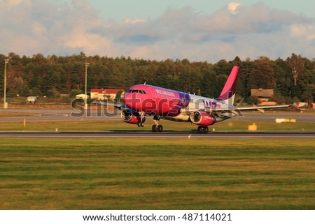 Gdansk, Poland, September 21, 2016: Wizzair plane starting at the airport of Gdansk Rebiechowo, Poland