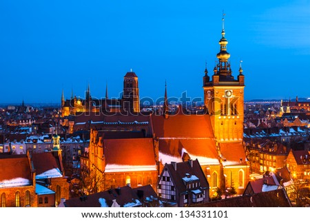 Gdansk Skyline with St. Catherine's and St. Mary's Churches, Pomerania, Poland - stock photo