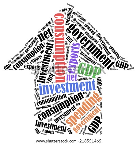GDP or Gross domestic product components. Word cloud illustration. - stock photo