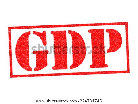 GDP Rubber Stamp over a white background. - stock photo