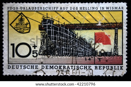 GDR - CIRCA 1960: A stamp printed in GDR (East Germany) shows shipyard in Wismar, circa 1960
