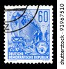 """GDR - CIRCA 1953: A stamp printed in GDR (German Democratic Republic - East Germany) shows a Ocean-going ship on stack without inscription from the series """"Workers For The Five-year Plan"""", circa 1953 - stock photo"""