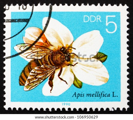 GDR - CIRCA 1990: a stamp printed in GDR shows Apple Blossom, Bees Collecting Nectar, circa 1990 - stock photo