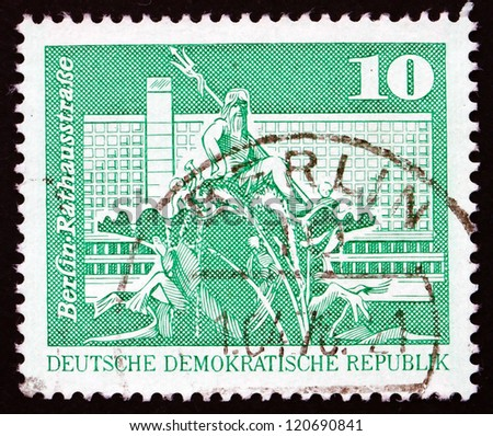 GDR - CIRCA 1973: a stamp printed in GDR shows Neptune Fountain, City Hall Street, Berlin, circa 1973