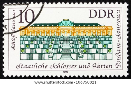 GDR - CIRCA 1983: a stamp printed in GDR shows Sanssouci Palace, Summer Palace of Frederick the Great, King of Prussia, Potsdam Gardens, Germany, circa 1983