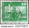GDR - CIRCA 1973: A stamp printed in GDR shows the Neptune Fountain, City Hall Street, Berlin, circa 1973 - stock photo