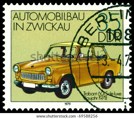 GDR - CIRCA 1979: A stamp printed in the GDR shows old automobile Trabant 601S, series, circa 1979 - stock photo